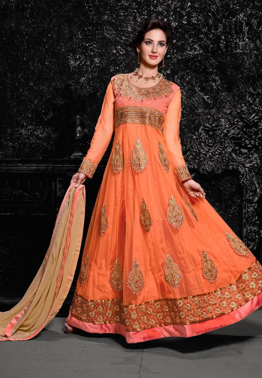 Buy Orange Embroidered Net Semistitched Anarkali Suit Online