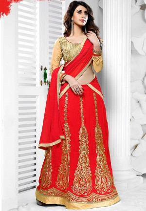 Buy Red  Beige Heavy Embroidery Georgette Semi Stitched Anarkali Suit/ Lehenga Online