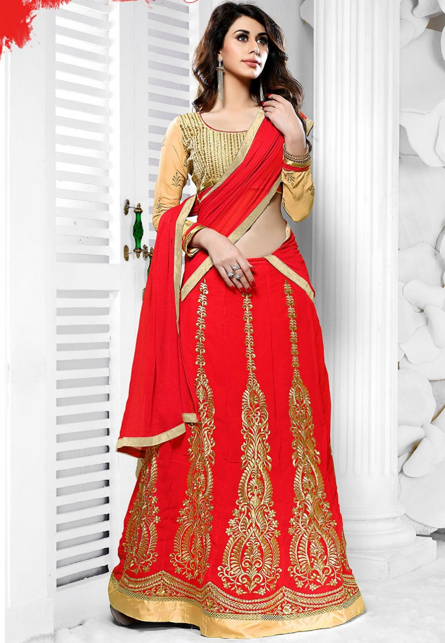 2faebf6e54b Buy Red Beige Heavy Embroidery Georgette Semi Stitched Anarkali Suit   Lehenga Online