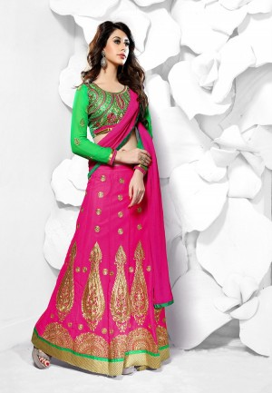 Buy Pink  Green Heavy Embroidery Georgette Semi Stitched Anarkali Suit/ Lehenga Online