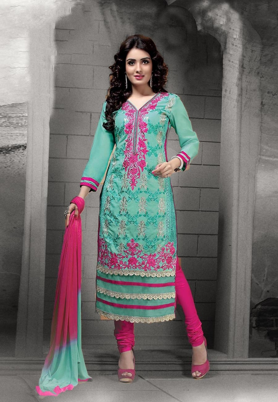 Buy Turquoise  Pink Embroidered Cotton Semi Stitched Salwar Suit Online
