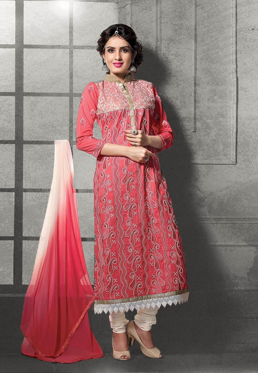 Buy Peach  Cream Embroidered Cotton Semi Stitched Salwar Suit Online