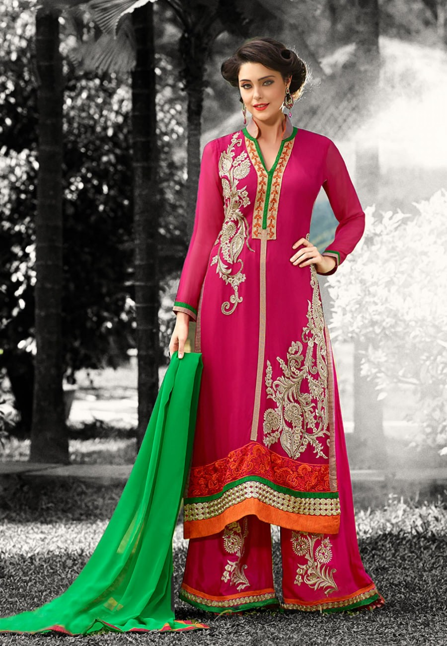 Buy Straight Fit Pant Style Pink and Green Georgette Semi Stitched Party Wear Suit Online