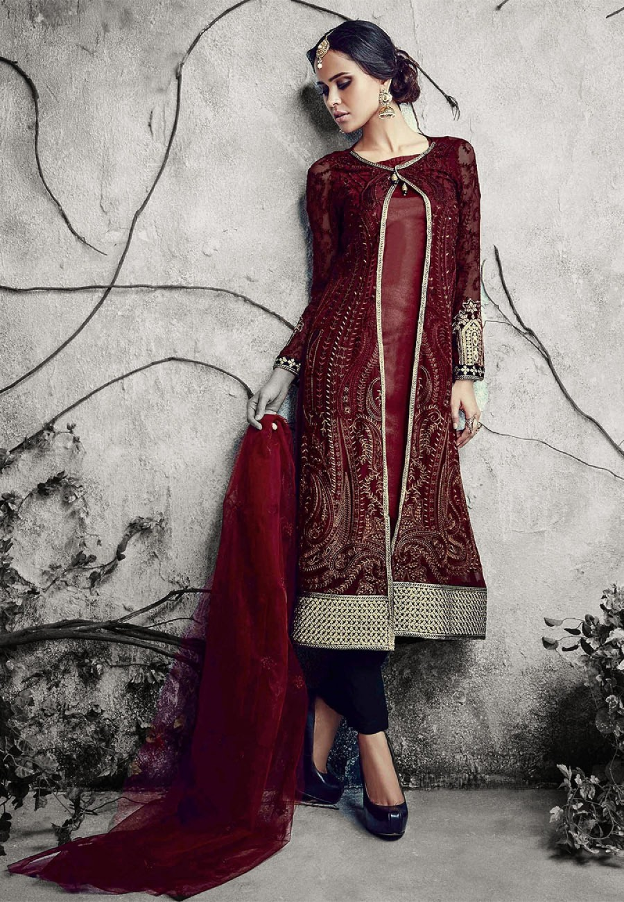Buy Maroon  Black Embroidered Georgette Dress Material Online