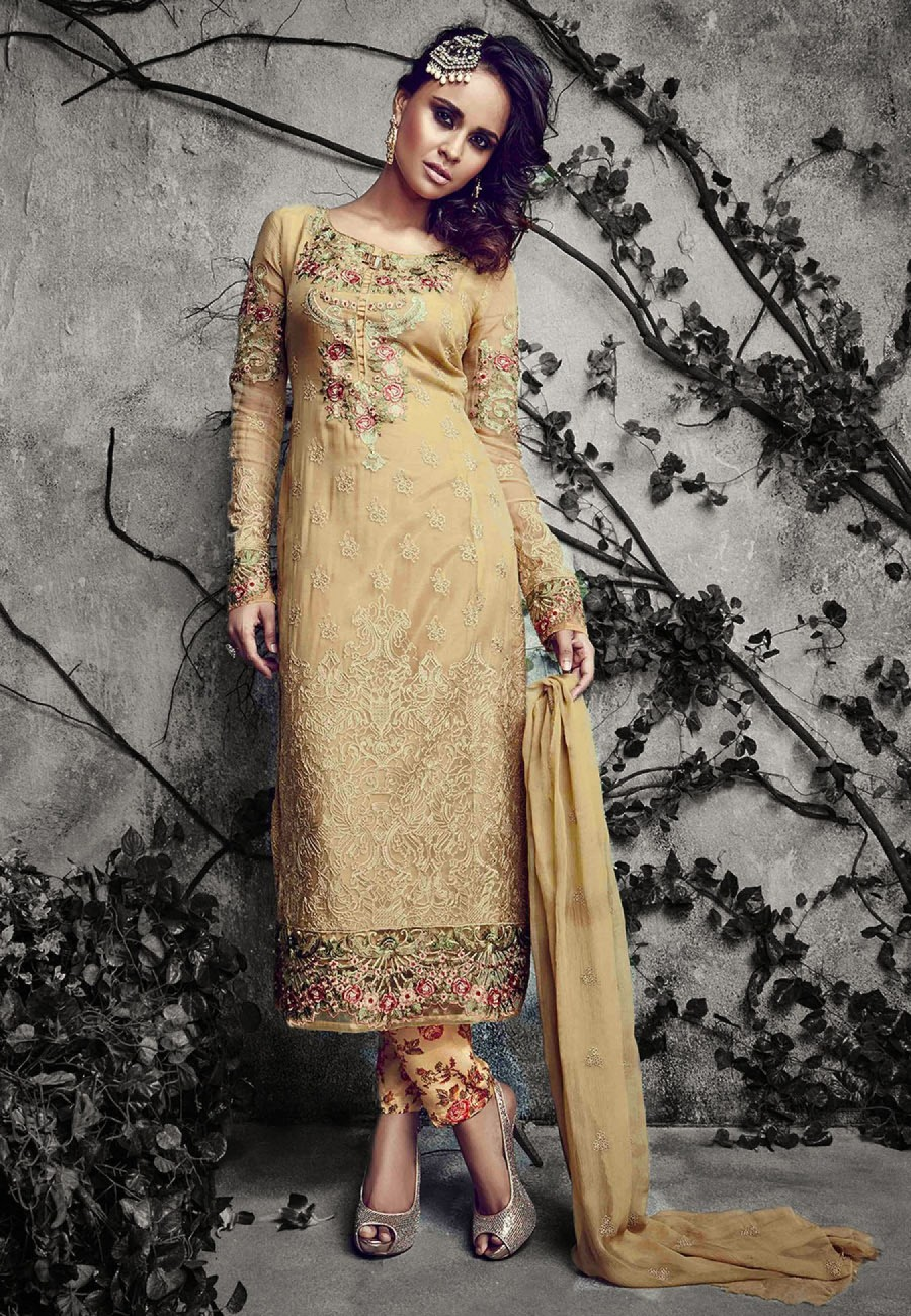 Buy Beige Embroidered Georgette Dress Material Online