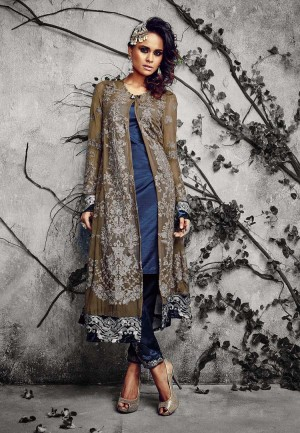 Buy Brown  Blue Embroidered Georgette Dress Material Online