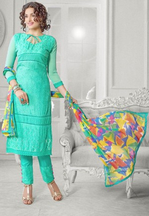 Buy Turquoise Chiffon Salwar Suit Dress Material Online