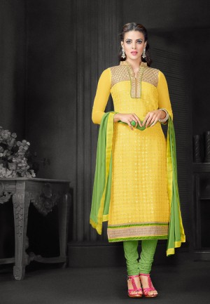 Buy Embroidered Yellow  Light Green Net Shifli Dress Material Online