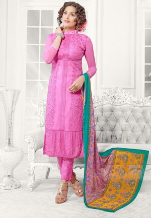 Buy Light Pink Chiffon Salwar Suit Dress Material Online