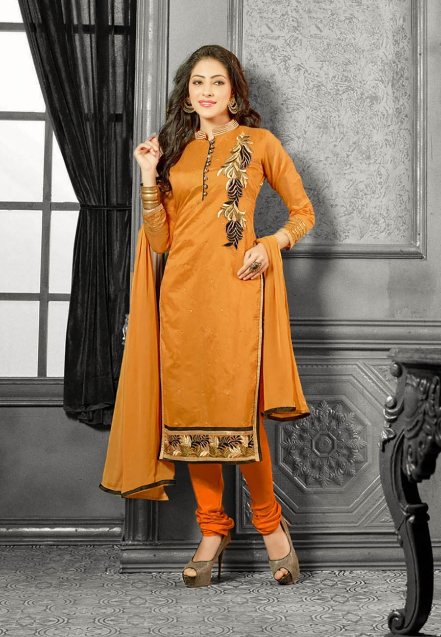 Buy Embroidered Mustard Yellow Chanderi Dress Material Online