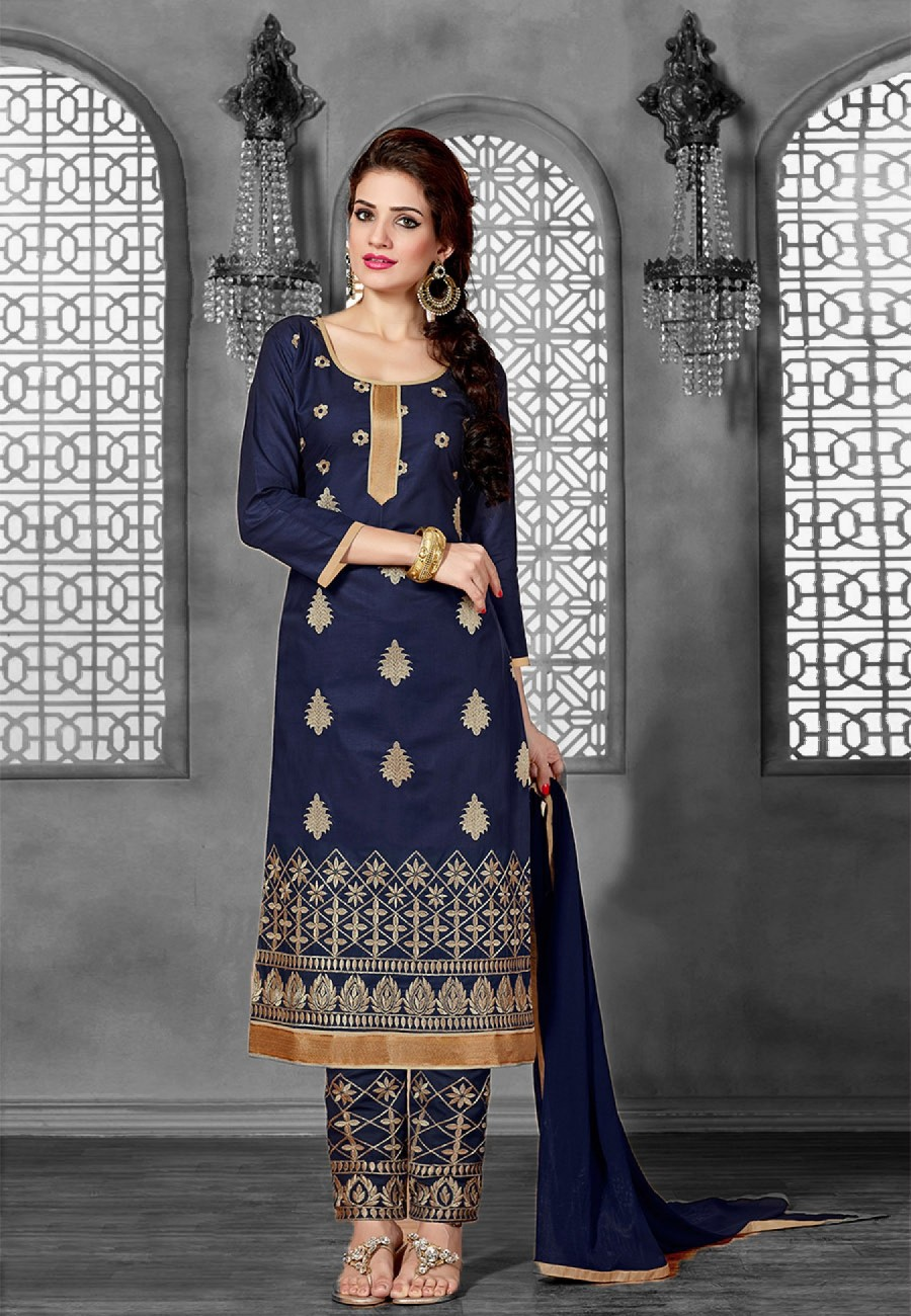 082bf49147 Online Shopping Blue Embroidered Cotton Dress Material | 512442