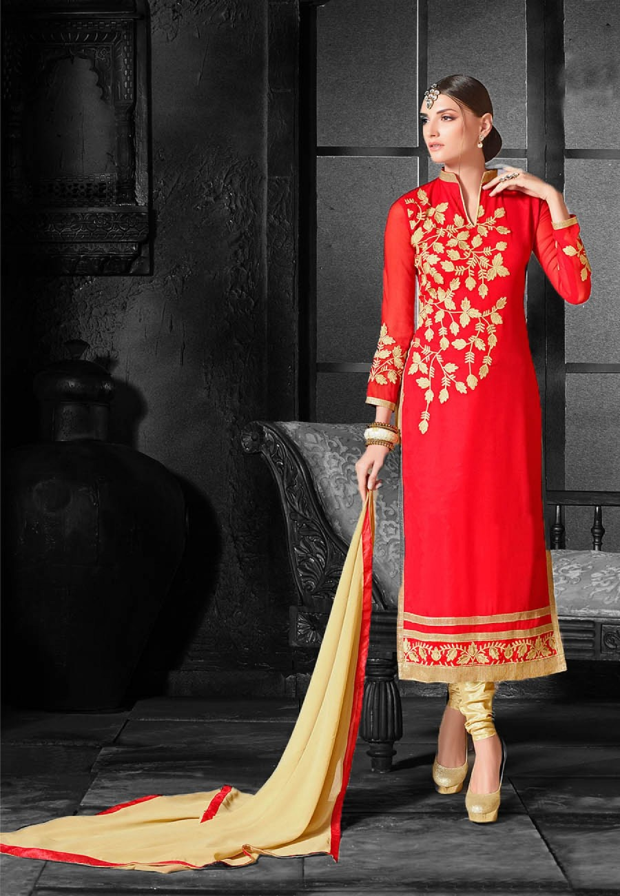 Buy Red  Beige Embroidered Georgette Dress Material Online