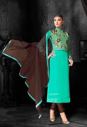 Buy Turquoise  Brown Embroidered Georgette Dress Material Online