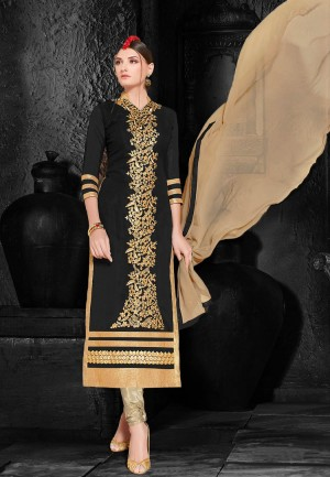Buy Black  Beige Embroidered Georgette Dress Material Online