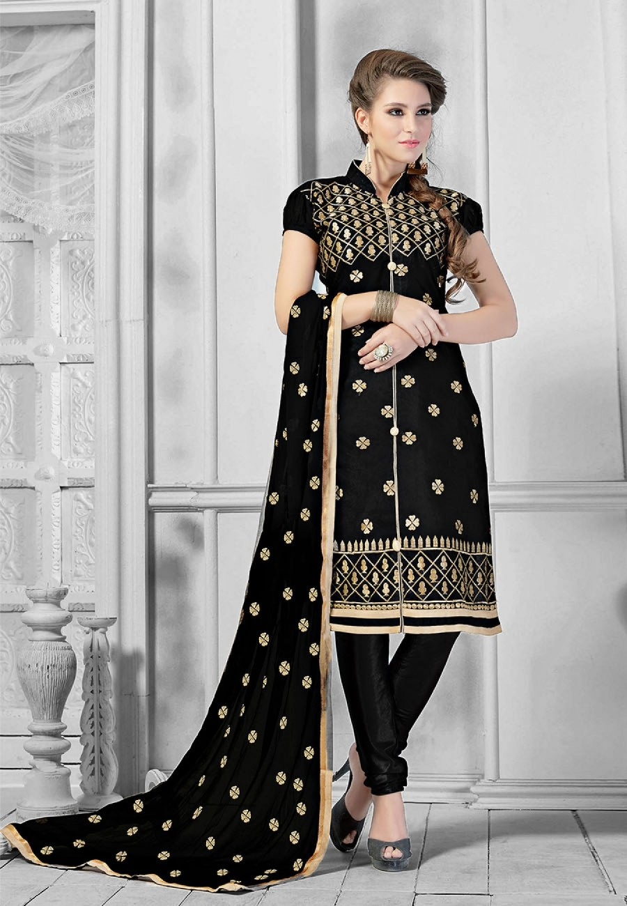 Buy Exclusive Black Embroidered Chanderi Silk Dress Material At Best Price 512451
