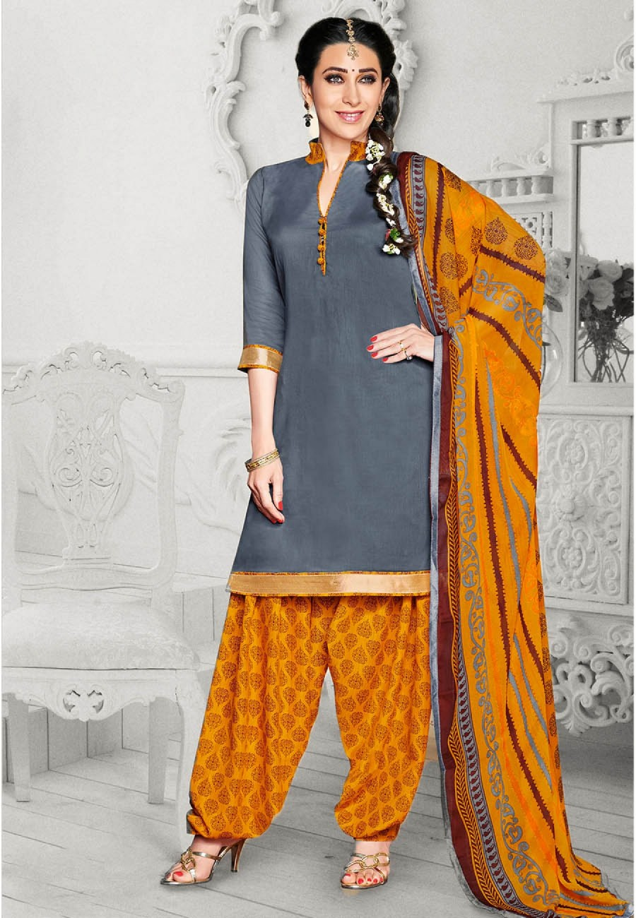 Buy Exclusive Grey Yellow Printed Cotton Dress Material at best ...