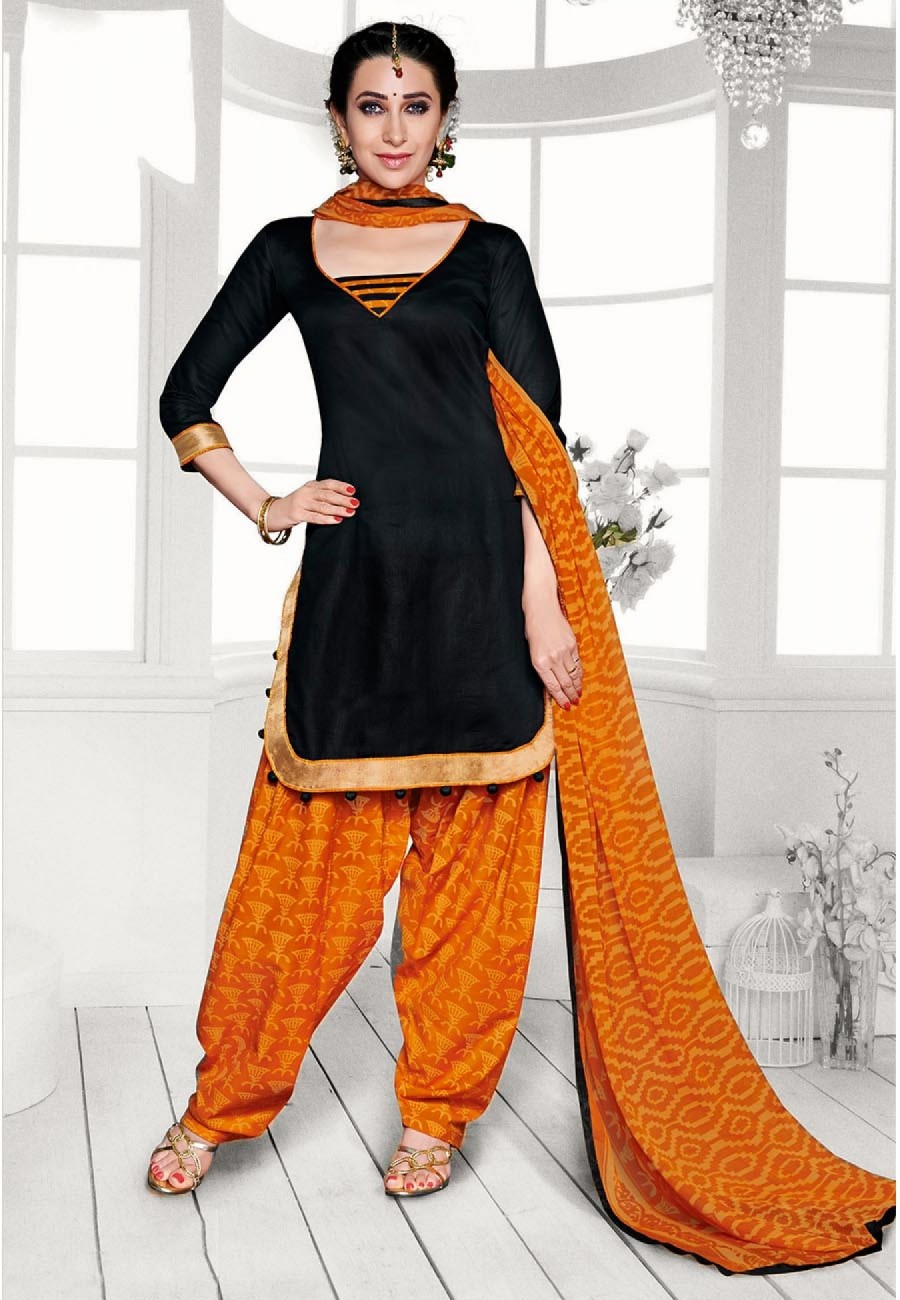 Buy Black  Yellow Printed Cotton Dress Material Online