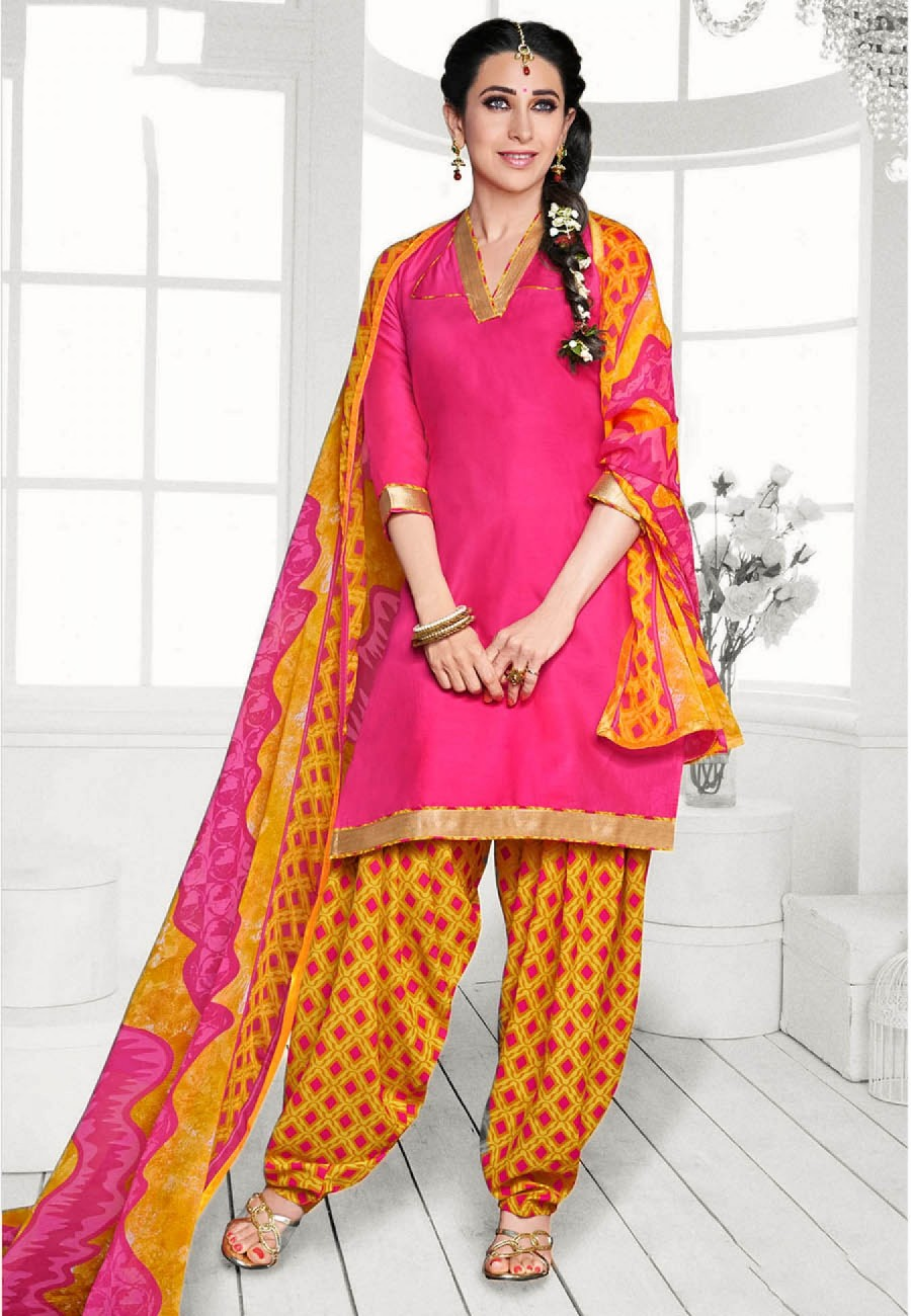 Buy Pink  Yellow Printed Cotton Dress Material Online