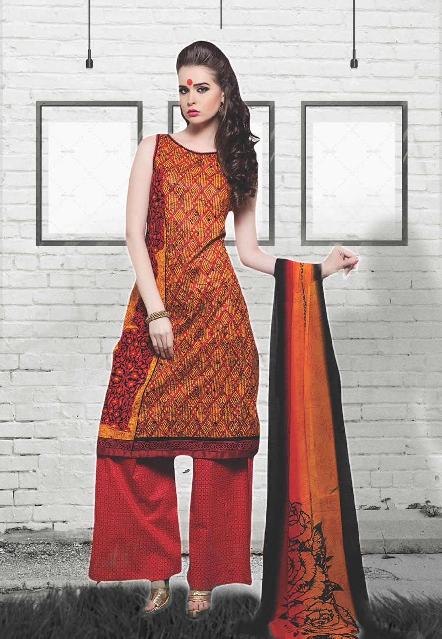 38403e1e2e Buy Yellow and Red Printed Daily Wear Cotton Suit Dress Material Online