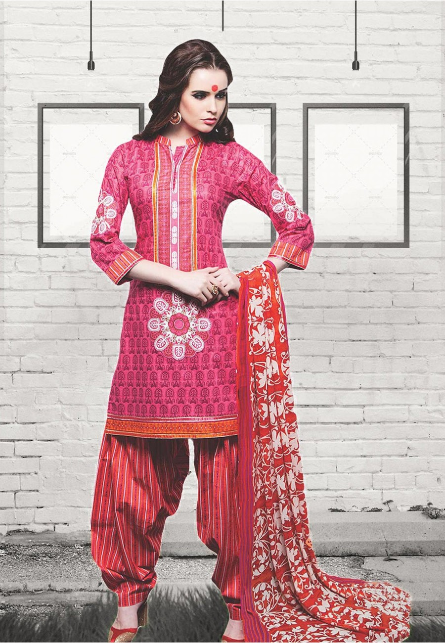 ad7f7f644d Buy Pink and Red Printed Daily Wear Cotton Suit Dress Material Online