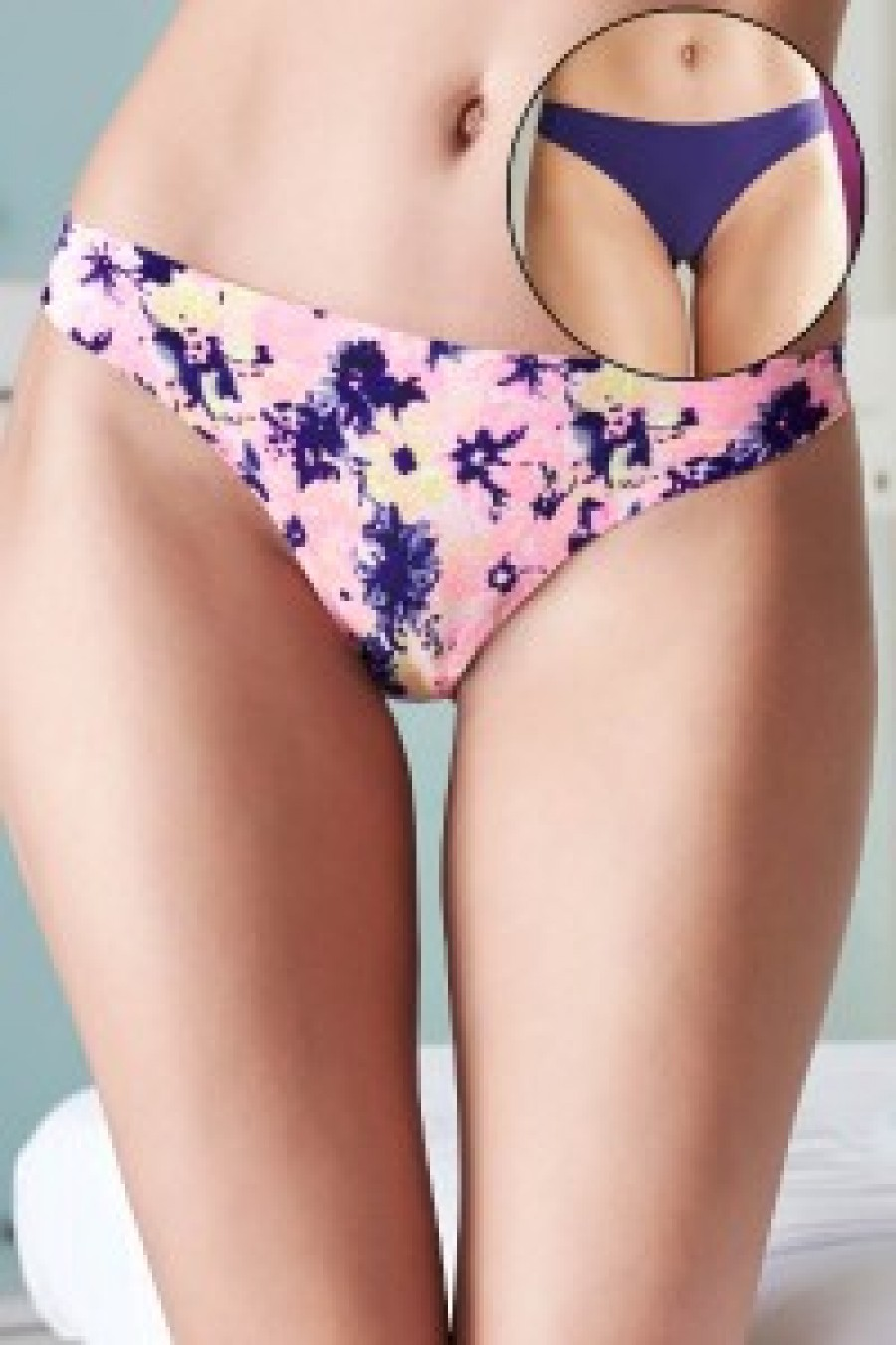 6907b1db22 Buy Penny No Panty Line Laser Cut Coral Floral N Solid Thong Briefs Pack of  2