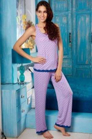 Buy  Penny Dreamwear Lavender Blossom Laced Top and Pyjama Set Online