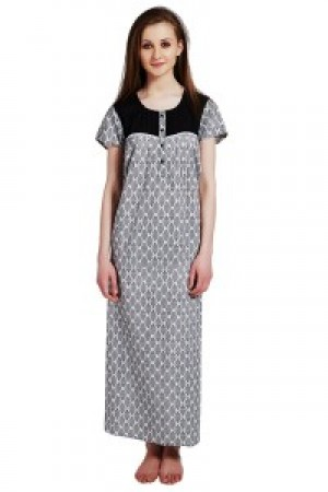 Buy  Rosaline Pure Cotton Comfort Full Length Nighty?  Black Motif Print Online