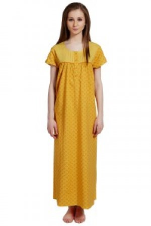 Buy  Rosaline Pure Cotton Comfort Full Length Nighty?   Yellow Floral Print Online