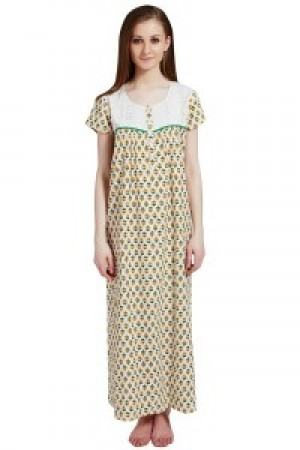 Buy  Rosaline Pure Cotton Comfort Full Length Nighty  Green Floral Print Online