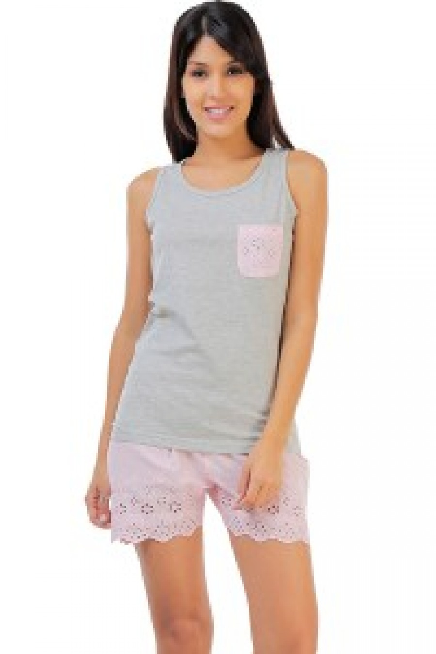 Buy Penny Dreamwear Fine Cotton Sleeveless Top And Shorts Set With Hakoba  Lace Grey n Pink 93c8ecf91