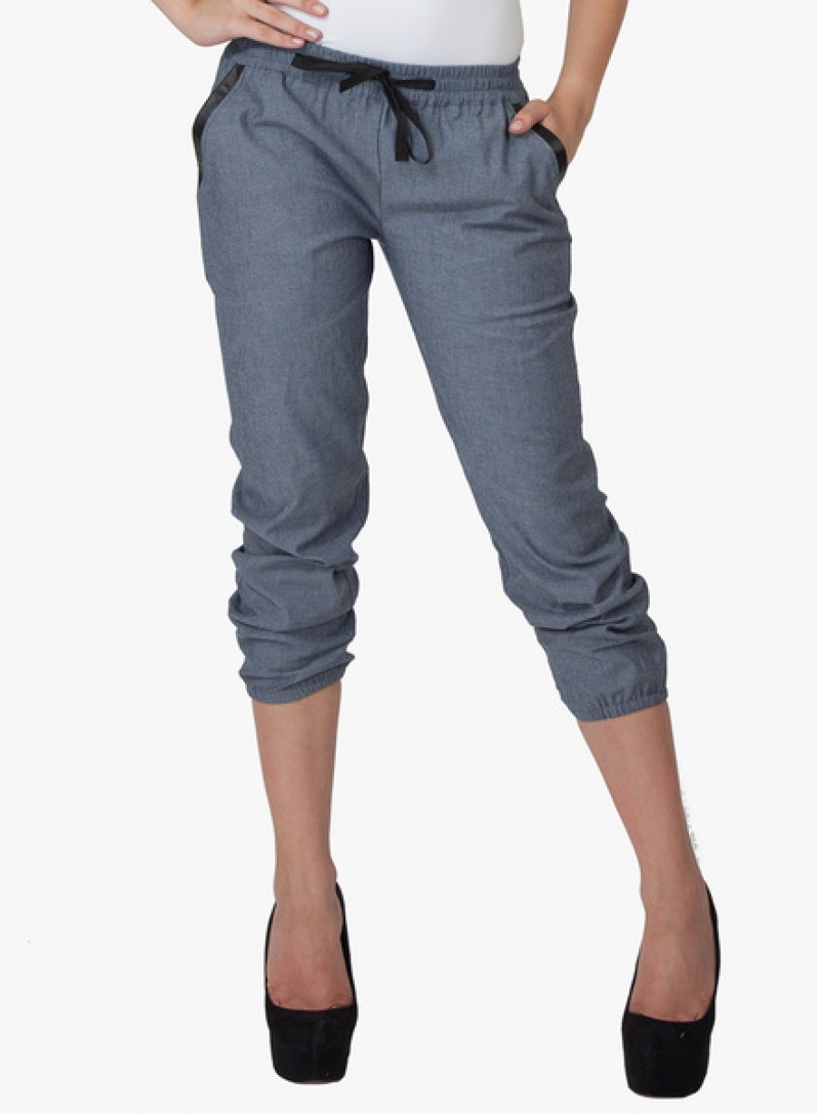 Buy  335TH Blue Colored Solid Capri Online