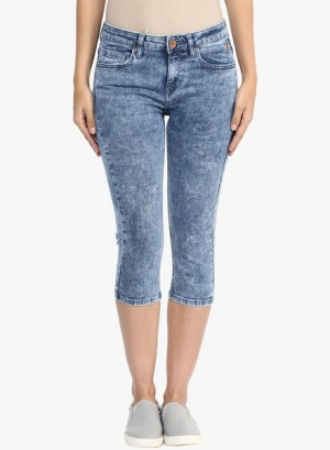Buy  Sf Jeans By Pantaloons Blue Washed Capri Online