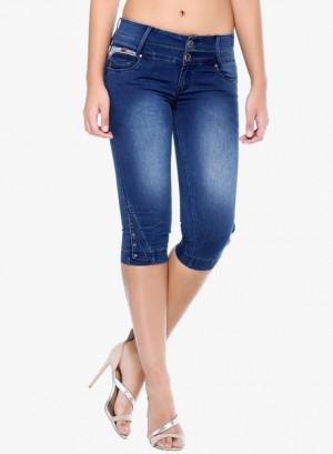 Buy  Xblues Blue Washed Capri Online