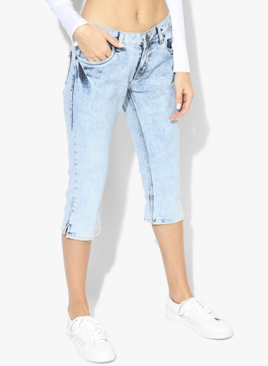 Buy  People Light Blue Washed Capri Online