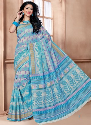 Buy Floral Cotton Print Work Casual Saree Online