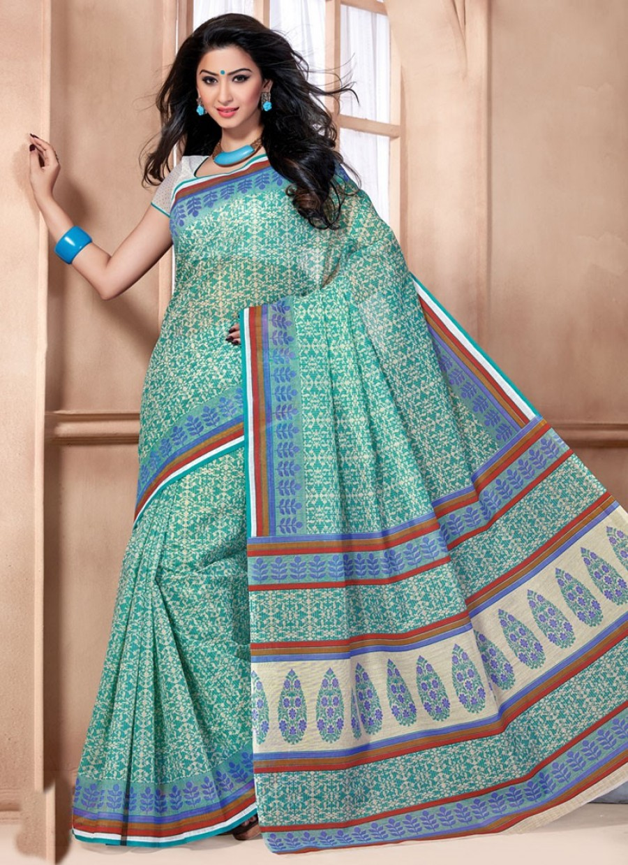 Buy Breathtaking Cotton Print Work Casual Saree Online
