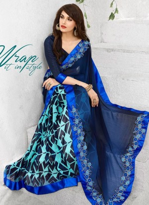 Buy Integral Multi Colour Print Work Casual Saree Online