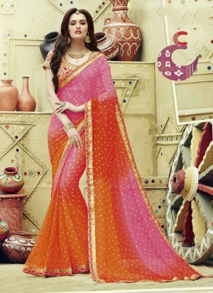 Buy Compelling Patch Border Work Georgette Designer Saree Online