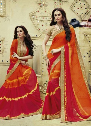 Buy Multi Colour Patch Border Work Georgette Designer Saree Online