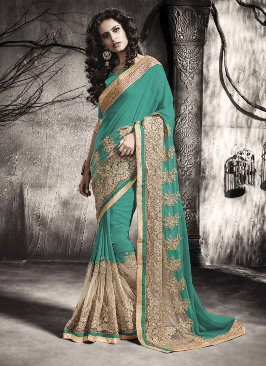 53beda6a8c Grab |Imperial Patch Border Work Sea Green Net Designer Saree at ...