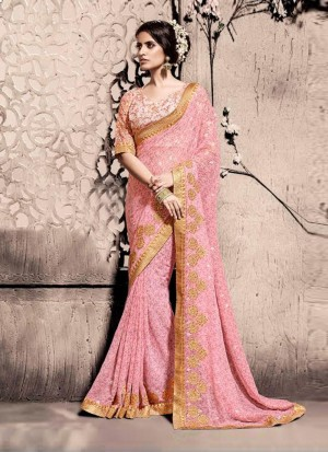 Buy Sumptuous Pink Patch Border Work Georgette Designer Saree Online