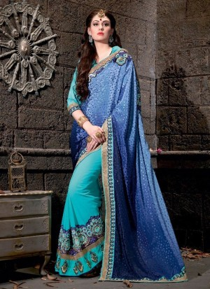Buy Suave Embroidered Work Blue Designer Saree Online