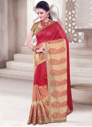Buy Vehemently Chanderi Cotton Multi Colour Print Work Casual Saree Online