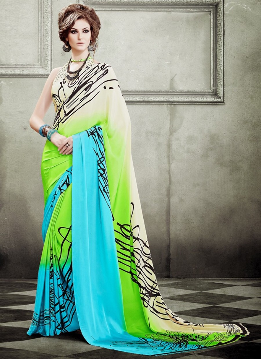 Buy Dainty Crepe Silk Multi Colour Casual Saree Online