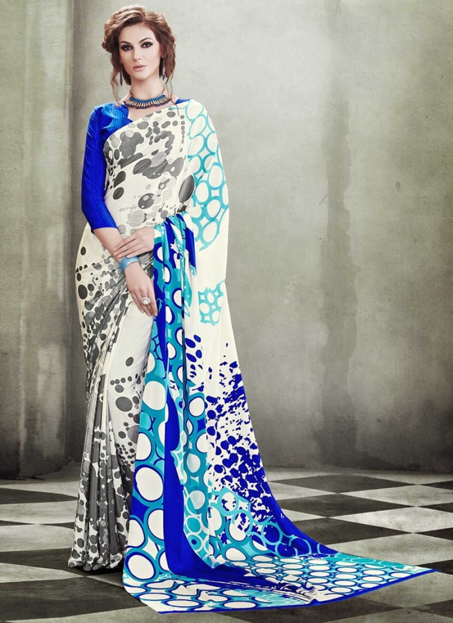 Buy Groovy Crepe Silk Print Work Casual Saree Online