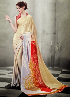 Buy Picturesque Print Work Crepe Silk Casual Saree Online