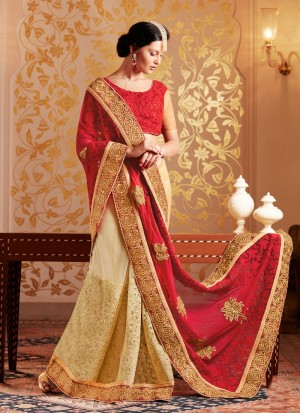 Buy Captivating Red And Beige Zari Work Georgette Designer Saree Online