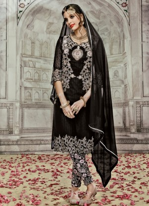 Buy Exceptional Black Resham Work Georgette Designer Suit Online