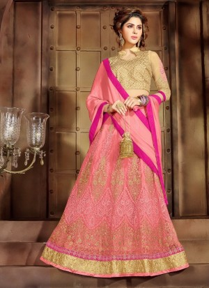 Buy Invaluable Net Pink Patch Border Work A Line Lehenga Choli Online