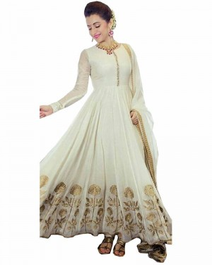 Buy White Color Cotton Fabric Dress Material Online